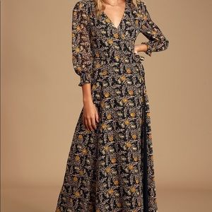 Lulu's - Multi Floral Print Wrap Maxi Dress